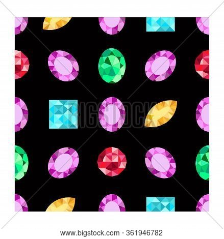 Diamonds Or Brilliants Seamless Pattern. Vector Jewels Gemstone On Dark Background. Flat Design Gems