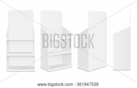 Blank Pos Display Stands With Various Views Isolated On White Background. Vector Illustration
