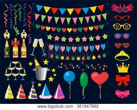 Birthday Party Design Elements. Birthday Party Collection. Balloons, Garlands, Masks, Champagne, Swe
