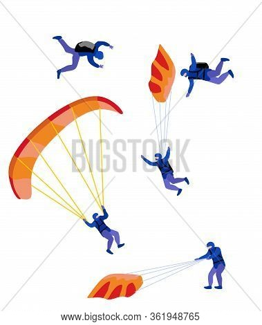 Parachute Skydivers. Extreme Parachuting Sport And Skydiving Concept. Paraglide And Parachute Jumpin