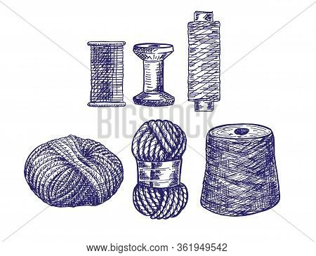 Threads For Sewing For Cross Stitching And Knitting. Wool Knitwear Yarn Thread Knitting Weaving Wool