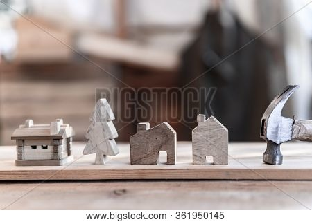 Carpenter Working In Carpentry Shop. Woodwork For Furniture And Home Decor Making Concept. Diy Wood