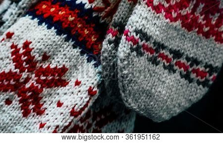 Traditional Balkan Knitted Socks With Oriental Bulgarian Decoration Embroidery. Rural Homemade Warm