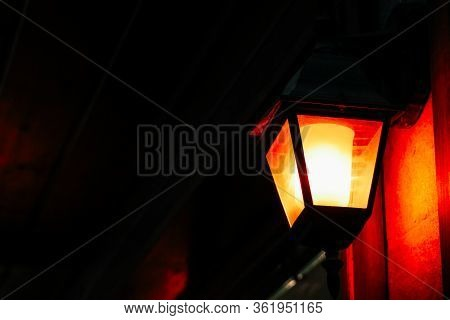 Old Style Vintage Outdoor Classic Street Lantern. Dark City, Romantic Lightning Backdrop.