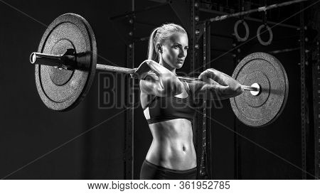 Barbell Workout Indoor Shot Of Caucasian Female Doing Exercise With Barbell Blonde Woman Crossfit Wo
