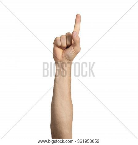 Adult Man Hand Showing Finger Pointing Gesture With Forefinger. Human Hand Gesturing Sign Isolated O