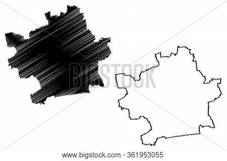 Erfurt City (federal Republic Of Germany, Thuringia) Map Vector Illustration, Scribble Sketch City O