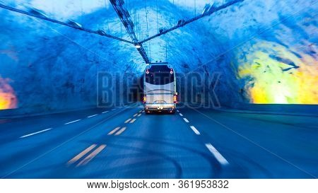 Bus In Laerdal Tunnel In Norway - The Longest Road Tunnel In The World, Connecting Laerdal And Aurla