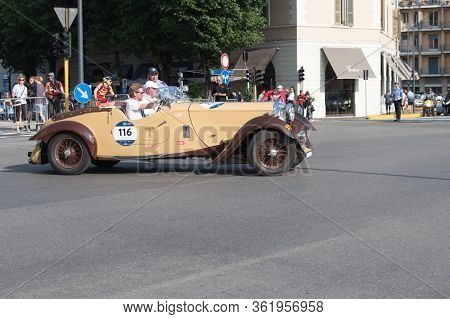 Brescia, Italy - May 19 2018: Lagonda Lg 45 Rapide 1937 Is An Old Racing Car In Rally Mille Miglia 2