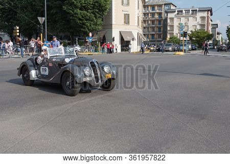 Brescia, Italy - May 19 2018: Frazer-nash B.m.w. 328 1937 Is An Old Racing Car In Rally Mille Miglia