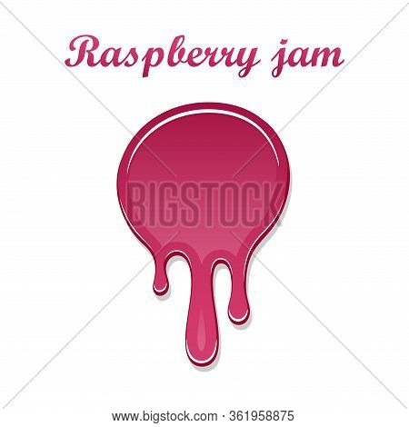 Raspberry Drip Jam 3d. Sweet Raspberries Splash Isolated White Background. Fruit Strawberry Candy Sp