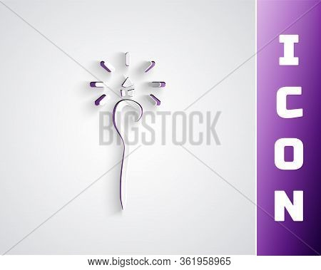 Paper Cut Magic Staff Icon Isolated On Grey Background. Magic Wand, Scepter, Stick, Rod. Paper Art S