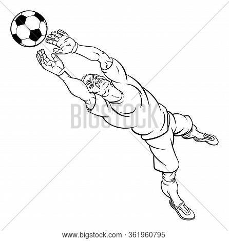 A Football Soccer Player Goal Keeper Cartoon Character Catching The Ball