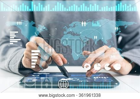 Modern Computing In Business Analytics. Businessman Hand Touching Virtual Screen. Online Project Man