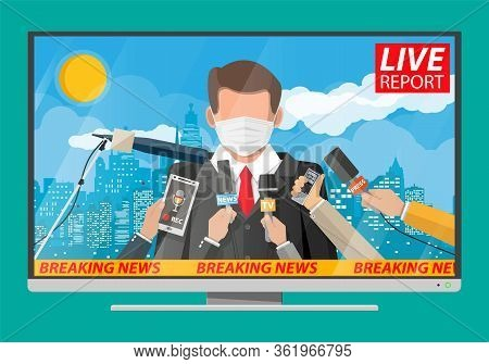 Tv News Anchorman In Mask Reads World News About Covid-19 Coronavirus Ncov. Main News Reader On Tele