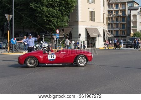 Brescia, Italy - May 19 2018: Cisitalia Colombo Barchetta 1948 Is An Old Racing Car In Rally Mille M