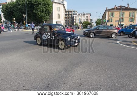 Brescia, Italy - May 19 2018: Fiat 500 C Topolino 1950 Is An Old Racing Car In Rally Mille Miglia 20