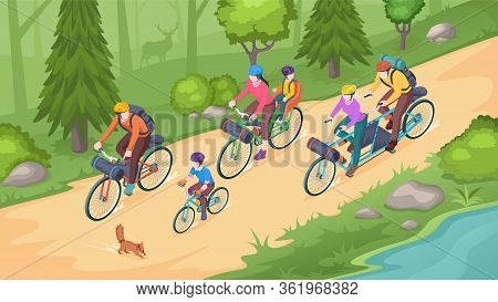 Family Biking Tourism, Bike Travel And Bicycle Outdoor Adventure, Vector Isometric Illustration. Fam