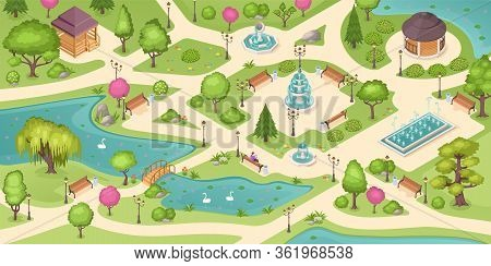 City Park Summer, Isometric Vector Background With Trees, Lawns And Fountains. Empty Urban City Park