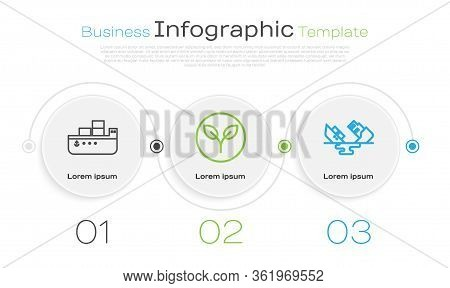 Set Line Oil Tanker Ship, Bio Fuel And Wrecked Oil Tanker Ship. Business Infographic Template. Vecto