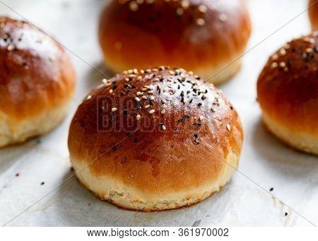 Fresh Homemade Hamburger Buns, Baps On Baking Paper