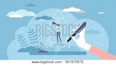 Startup Vision Vector Illustration. Business Idea Flat Tiny Persons Concept. Abstract Spaceship As C