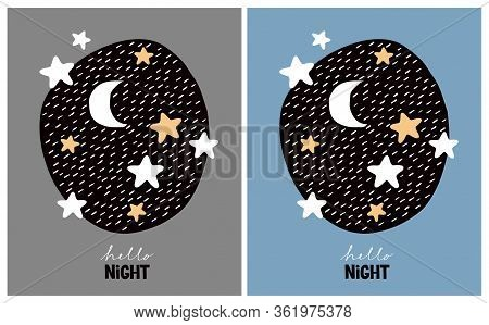 Cute Nursery Vector Art With Stars And Moon. Starry Night In A Black Irregular Frame On A Gray And B
