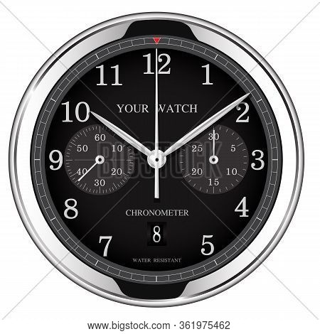 Realistic Black Silver Clock Watch Chronograph Luxury On White Background Vector Illustration.