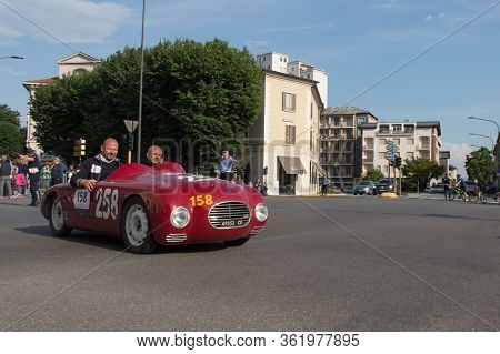Brescia, Italy - May 19 2018: Fiat Siata 750 Sport Fenocchio 1948 Is An Old Racing Car In Rally Mill