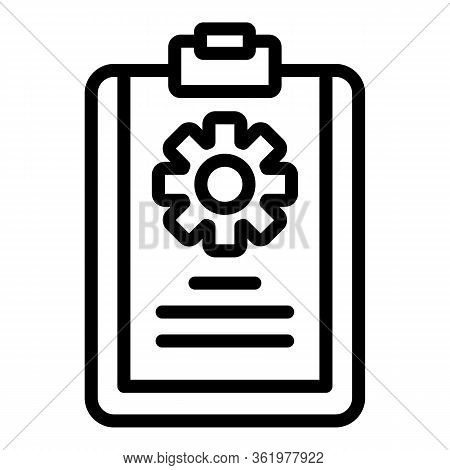 Blank With Cog Wheel Icon. Outline Blank With Cog Wheel Vector Icon For Web Design Isolated On White