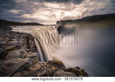 Dettifoss Waterfall Located On The Jokulsa A Fjollum River In Iceland. Dettifoss Is The Second Most