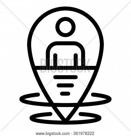 Man At The Geo Point Icon. Outline Man At The Geo Point Vector Icon For Web Design Isolated On White