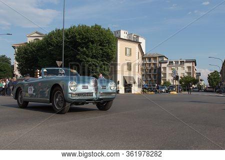 Brescia, Italy - May 19 2018: Alfa Romeo 6c 2500 Ss Cabriolet Pinin Farina 1949 Is An Old Racing Car