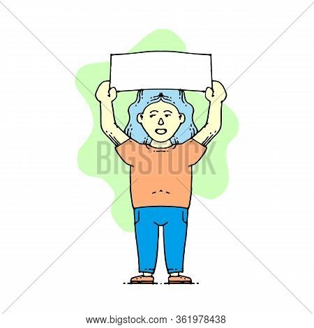 Protest Event Color Icon. Political Protest. Social Movement. Public Opinion. Protesters With Banner