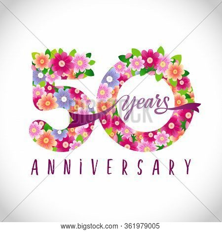 50 Th Anniversary Numbers. 50 Years Old Logotype. Floral Pink Congrats. Isolated Abstract Graphic De
