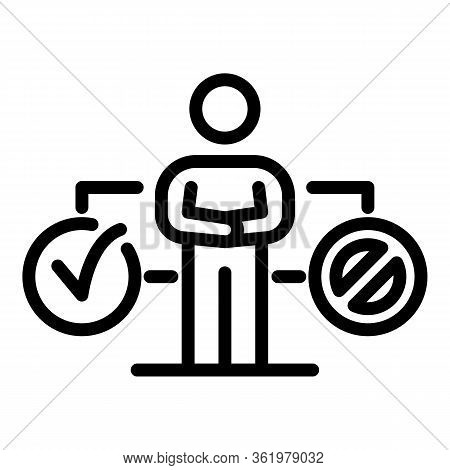 Man And Choice Yes No Icon. Outline Man And Choice Yes No Vector Icon For Web Design Isolated On Whi