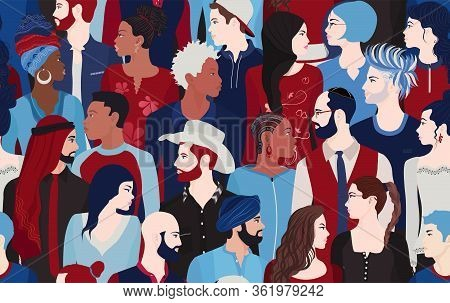 People Talking And Diversity Seamless Pattern. Communication Dialogue And Connection Between Crowd O