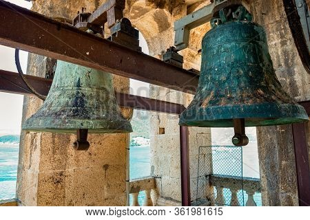 Old Bells In A Tower In The City Of Perast Montenegro
