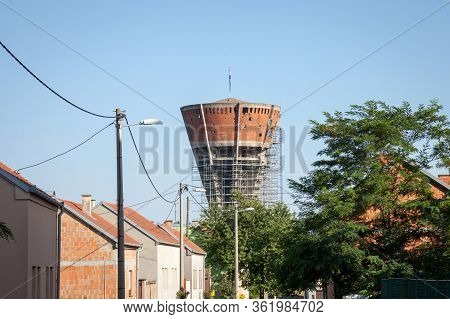 Water Tower From Vukovar, With Bullet And Missile Holes From The 1991-1995 Conflict, Which Opposed S