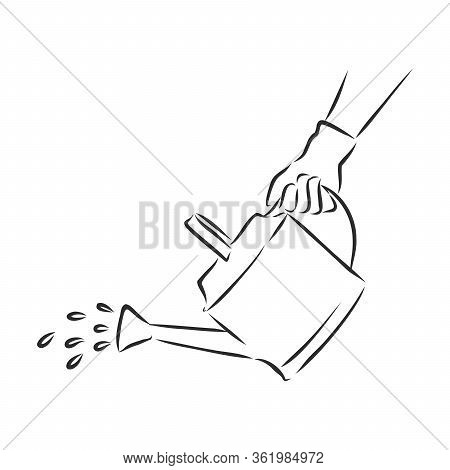 Watering Can Cartoon Icon. Sketch Fast Pencil Hand Drawing Illustration In Funny Doodle Style, Garde