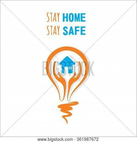 Stay Home Stay Safe And Work From Home Concept Design