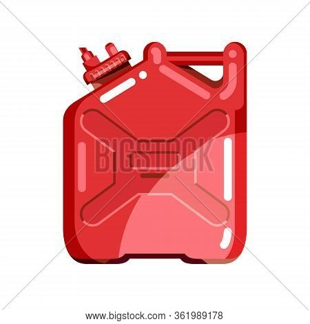 Colorful Jerrycan With Handle For Liquid Product Packaging. Equipment Design Elements. Flat Cartoon
