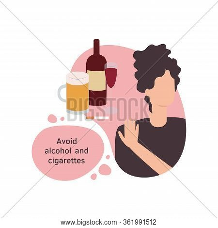 Vector Isolated Illustration Of A Woman Avoiding Alcohol And Cigarettes In A Flat Design Style. Girl