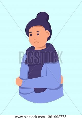 Young Woman In Despair. A Woman Ile Is Under Great Stress. Depressive Disorder. Vector Illustration