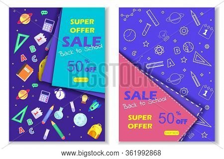 Back to school sale banner. Back to school banner set. Colorful back to school templates for invitation, poster, banner, promotion,sale etc. School supplies cartoon illustration. Vector back to school design templates. Vector eps 10 format.