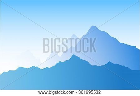 Mountain Landscape Blue Color With Layered Ridges