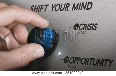 Man Turning A Knob To Turn Crisis Into An Opportunity. Composite Image Between A Hand Photography An