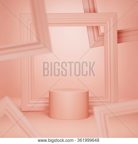 3d Coral Pastel Podium Display With Levitating  Square Frame Copy Space. Abstract Pink Template Pede