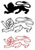 Royal lion and his silhouette for heraldry design poster