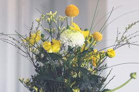 Bouquet Of Colorful Flowers In Yellow And Orange Variations In The Springtime